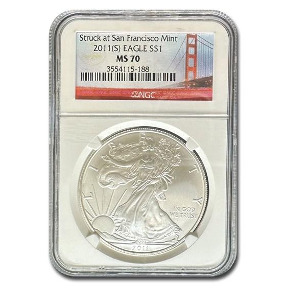 2011-S Silver American Eagle MS-70 NGC (25th Anniv)