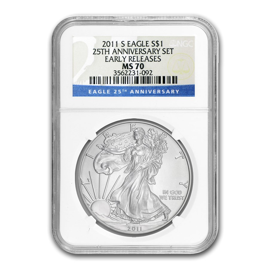 2011-S Silver American Eagle MS-70 NGC (ER, 25th Anniv)