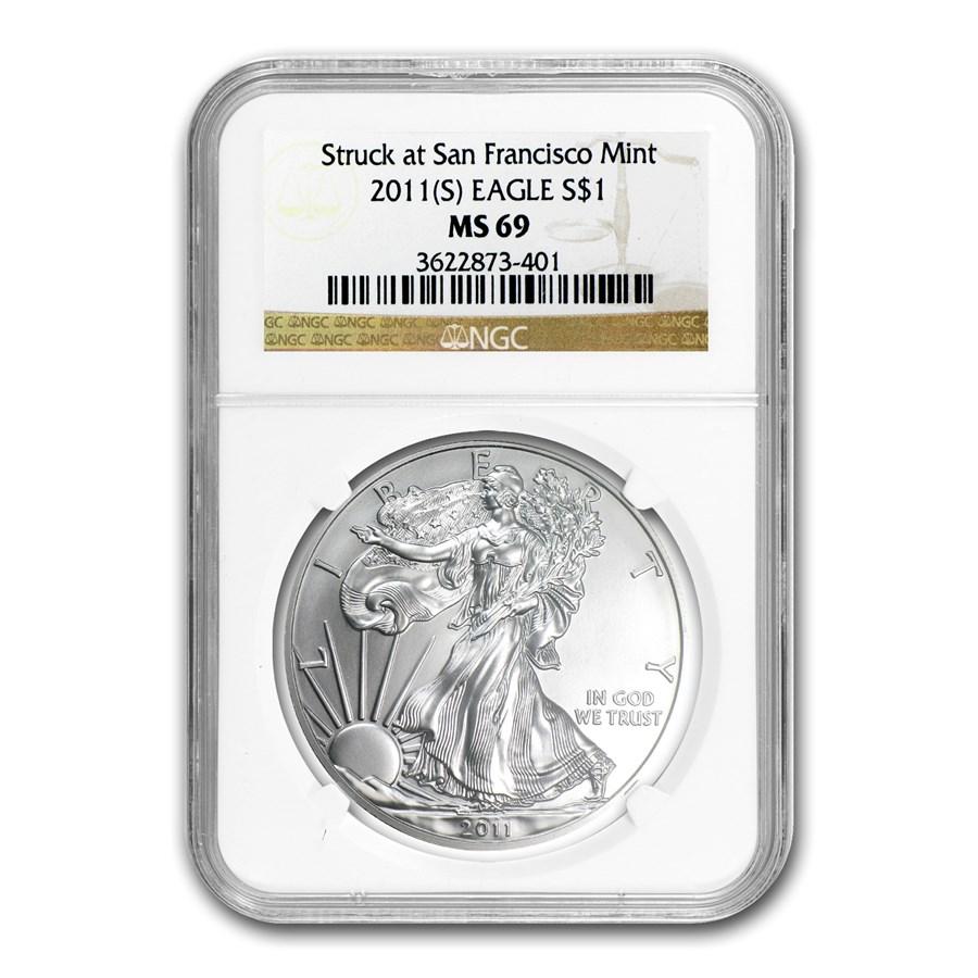 2011 (S) Silver Eagle MS-69 NGC (San Francisco Label)