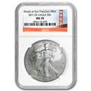 2011 (S) Silver Eagle MS-70 NGC (Golden Gate Bridge Label)