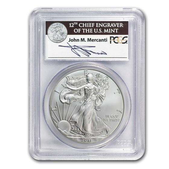 2011-S Silver Eagle MS-70 PCGS (FS, 25th Anniv, John Mercanti)