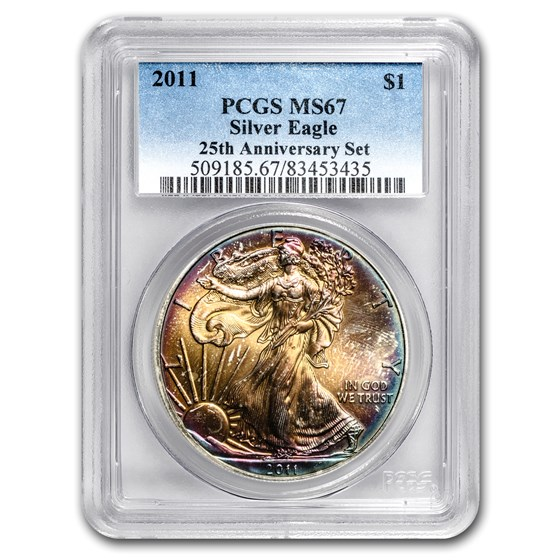 2011 Silver American Eagle MS-67 PCGS (Rainbow Toned)