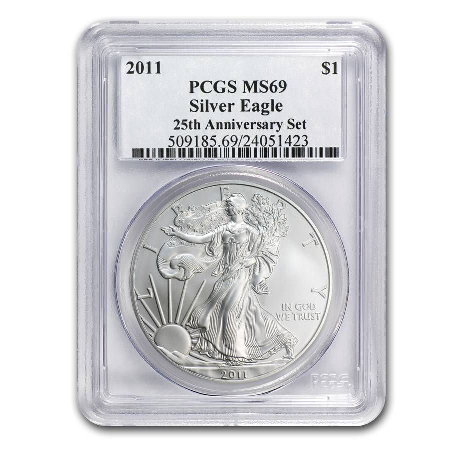 2011 Silver American Eagle MS-69 PCGS (25th Anniv)