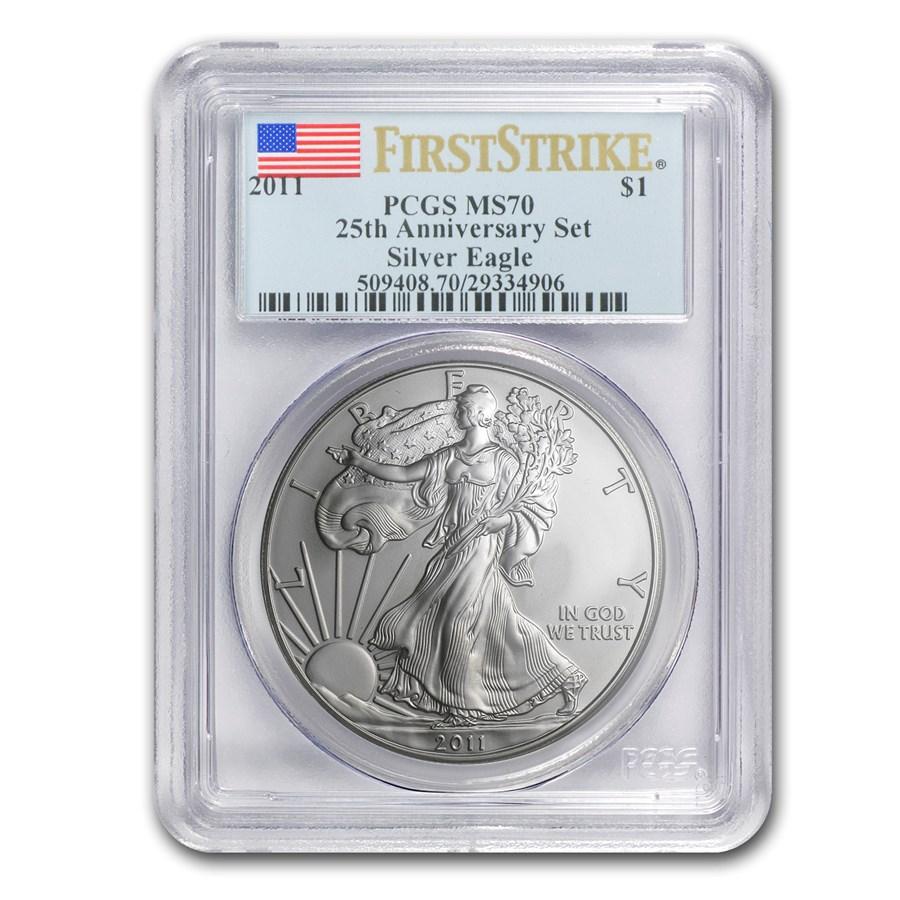2011 Silver American Eagle MS-70 PCGS (FS, 25th Ann, Blue Label)