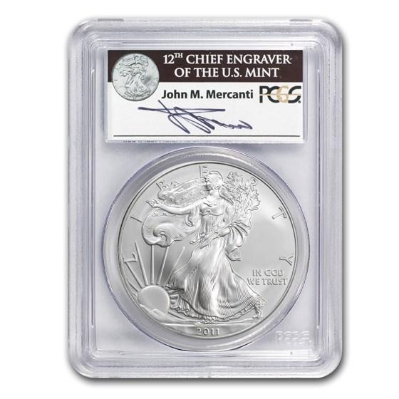 2011 Silver Eagle MS-70 PCGS (FS, 25th Anniv, John Mercanti)