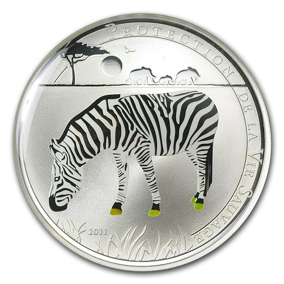 2011 Togo Silver 1000FR CFA Wildlife Protection Zebra Prism