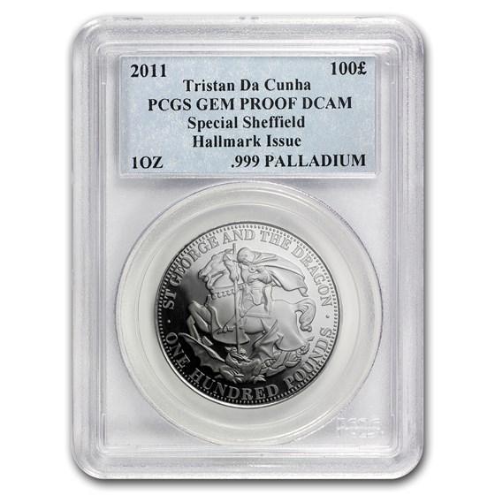 2011 Tristan Da Cunha Palladium £100 St. George/Dragon Proof PCGS