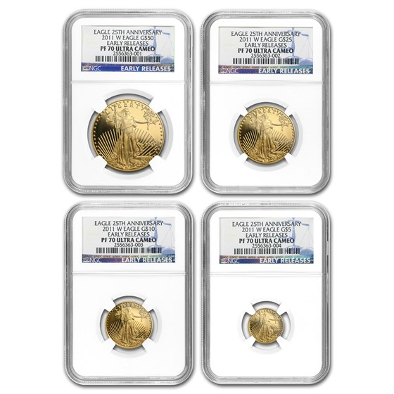 2011-W 4-Coin Proof American Gold Eagle Set PF-70 NGC (ER)