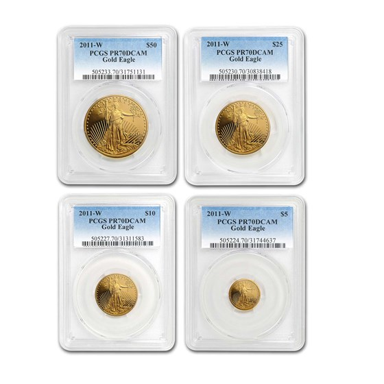 2011-W 4-Coin Proof American Gold Eagle Set PR-70 PCGS