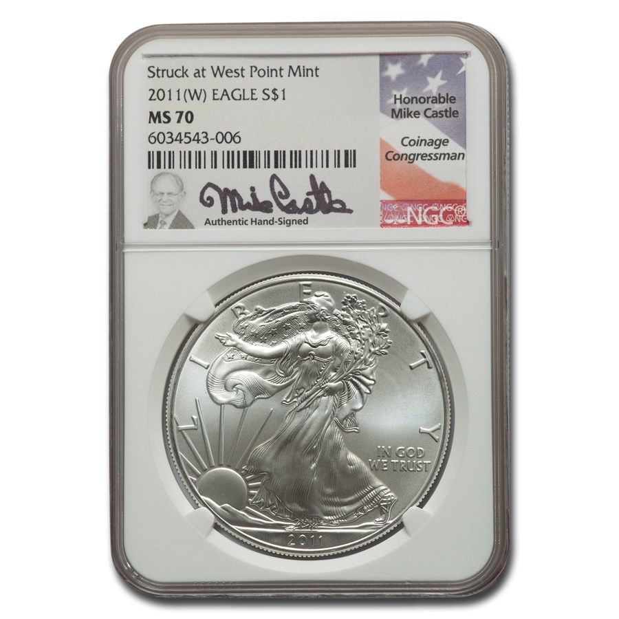 2011 (W) American Silver Eagle MS-70 NGC (Castle)