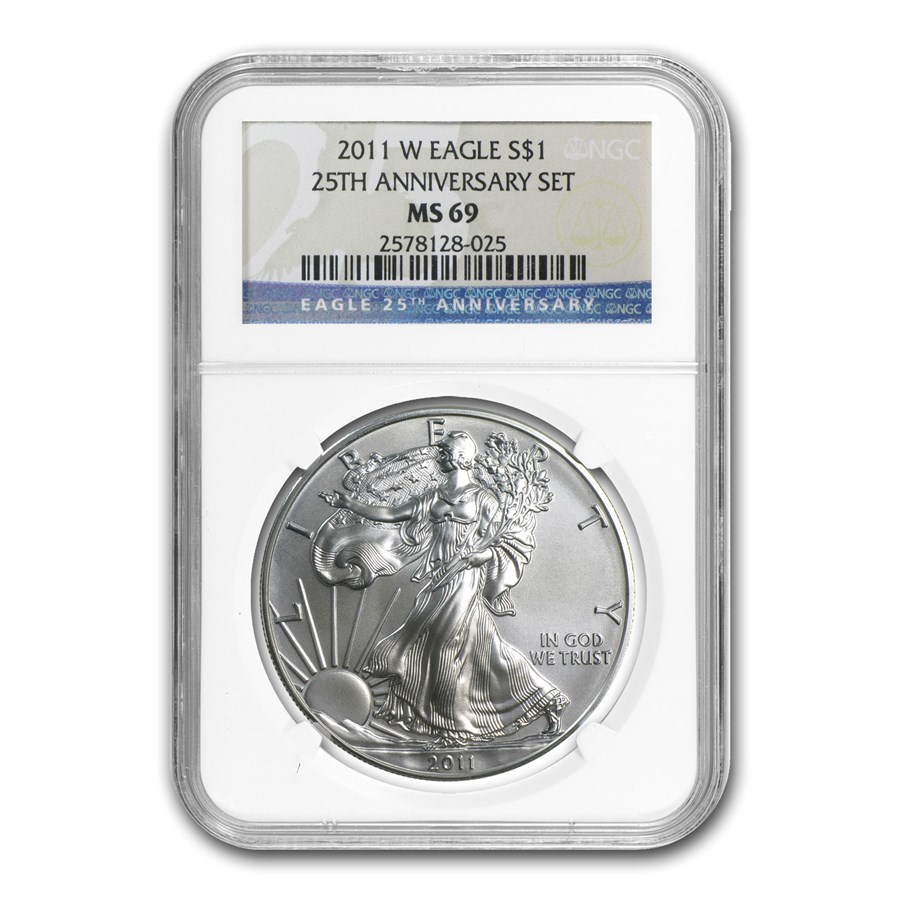2011-W Burnished Silver Eagle MS-69 NGC (25th Anniv)