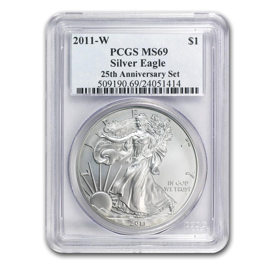 2011-W Burnished Silver Eagle MS-69 PCGS (25th Anniv, Blue Label)