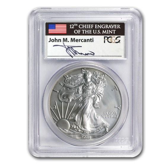 2011-W Burnished Silver Eagle MS-69 PCGS (25th Anniv, Mercanti)