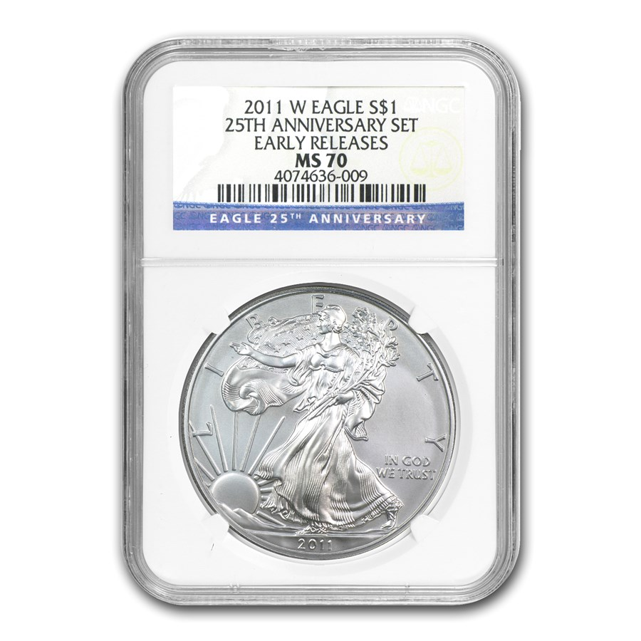 2011-W Burnished Silver Eagle MS-70 NGC (ER, 25th Anniv)