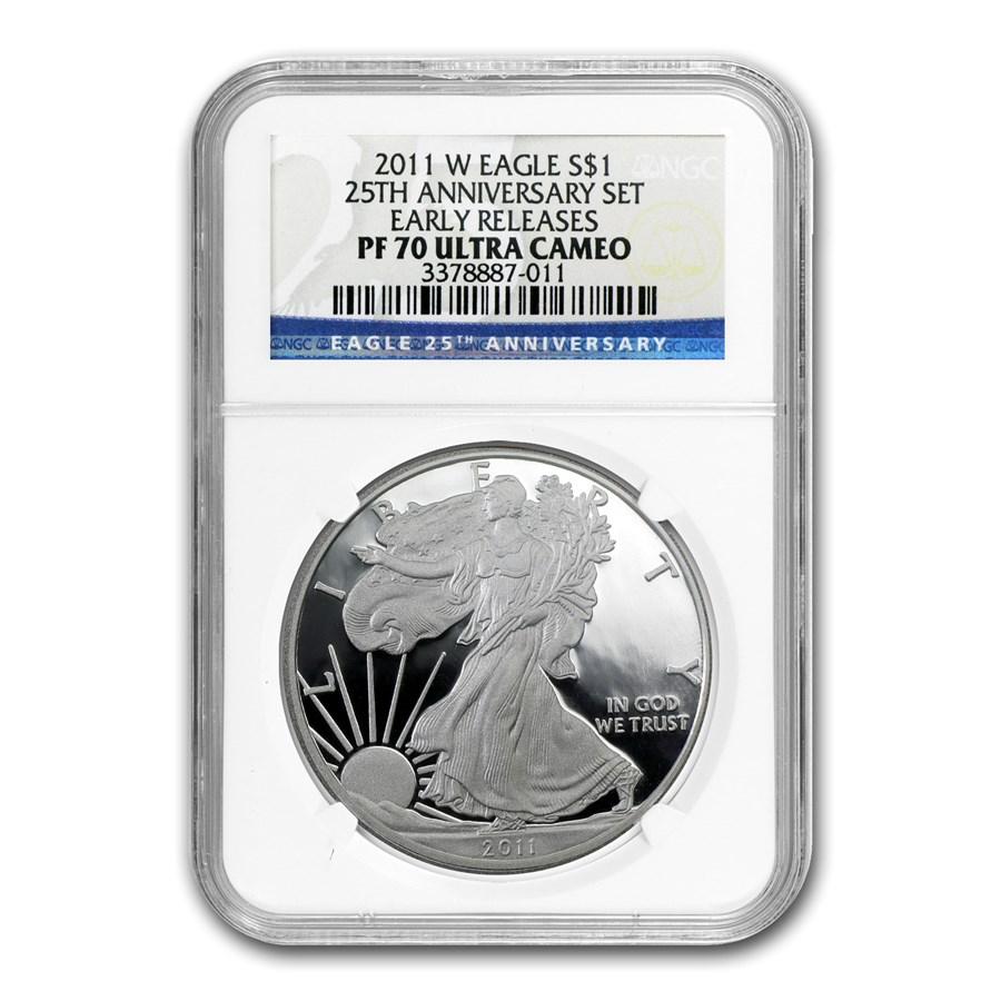 2011-W Proof American Silver Eagle PF-70 NGC (ER, 25th Anniv Set)