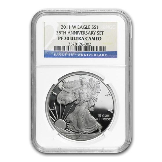2011-W Proof Silver American Eagle PF-70 NGC (25th Anniv Set)