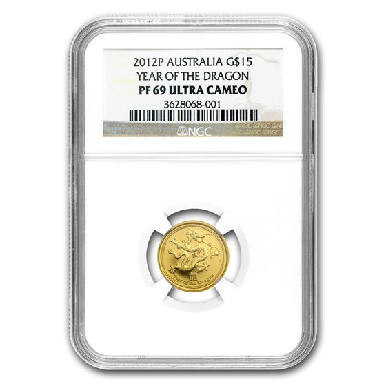 2012 1/10 oz Gold Lunar Year of the Dragon PF-69 NGC (SII)
