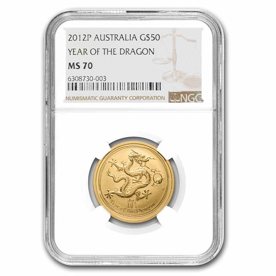 2012 1/2 oz Gold Lunar Year of the Dragon MS-70 NGC (Series II)