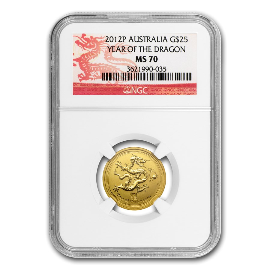 2012 1/4 oz Gold Lunar Year of the Dragon MS-70 NGC (Series II)