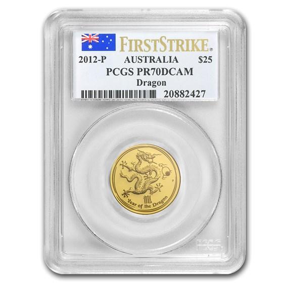 2012 1/4 oz Gold Lunar Year of the Dragon PR-70 PCGS FS (SII)