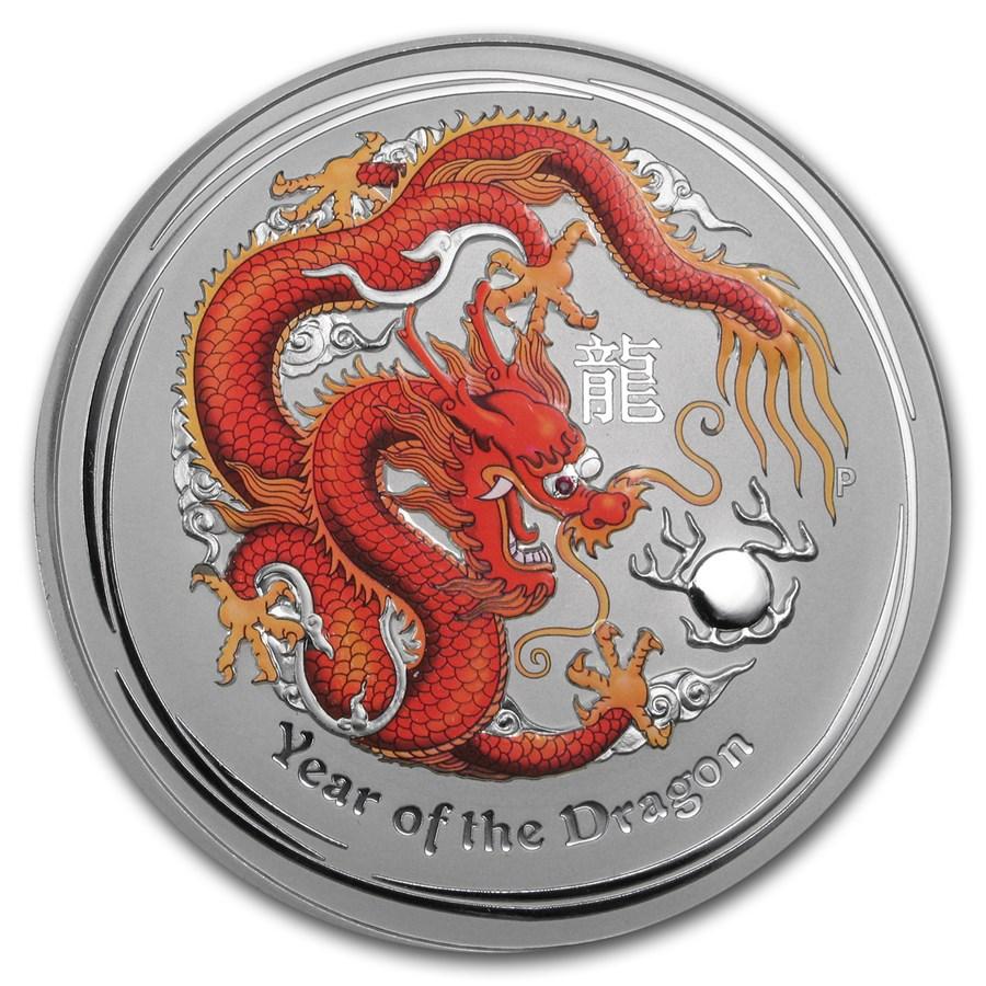 2012 1 kilo Silver Dragon Gemstone Eye BU (Colorized, w/o Box)
