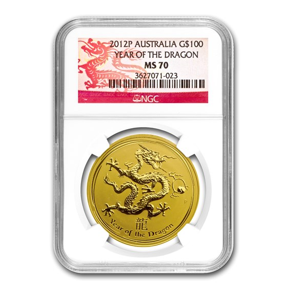2012 1 oz Gold Lunar Year of the Dragon MS-70 NGC (SII)