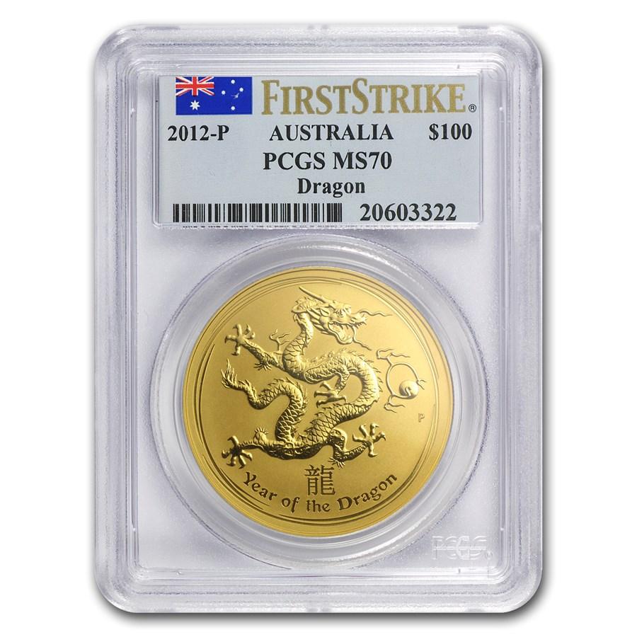 2012 1 oz Gold Lunar Year of the Dragon MS-70 PCGS FS (SII)