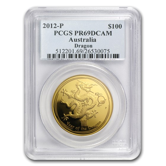 2012 1 oz Gold Lunar Year of the Dragon PR-69 PCGS (SII)