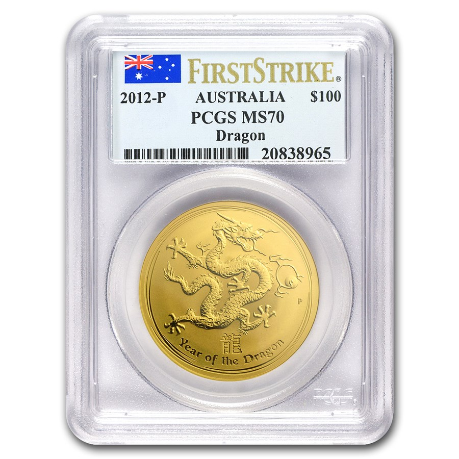 2012 1 oz Gold Year of the Dragon MS-70 PCGS (SII, FirstStrike®)