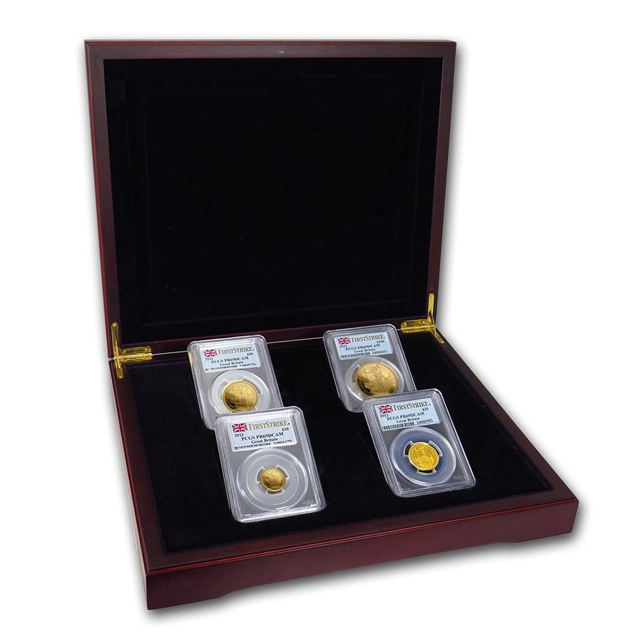 2012 4-Coin Gold Britannia Proof Set PR-69 PCGS (FirstStrike®)