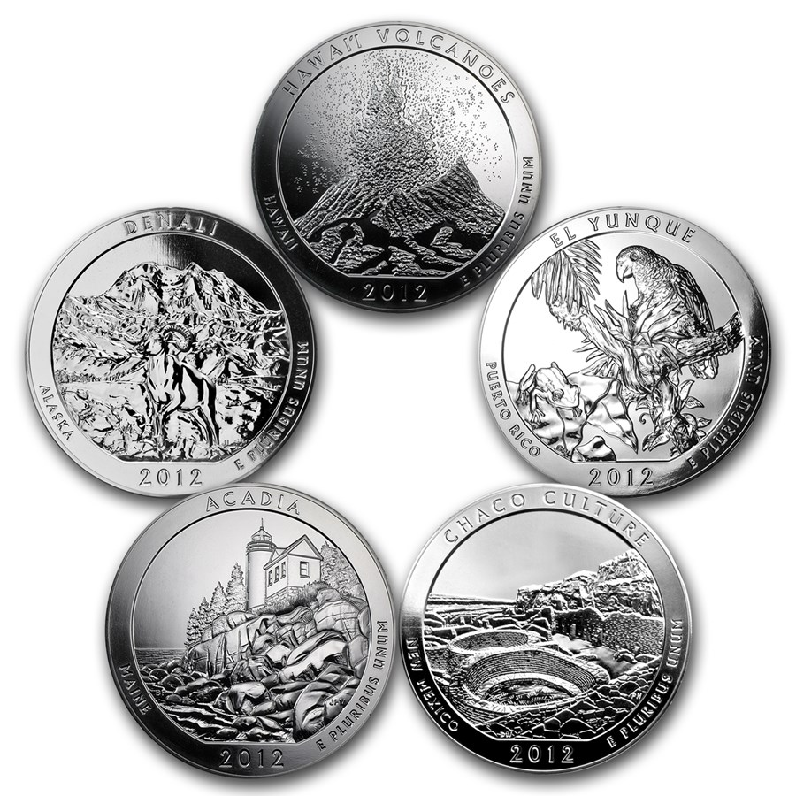 2012 5-Coin 5 oz Silver ATB Set (America the Beautiful)