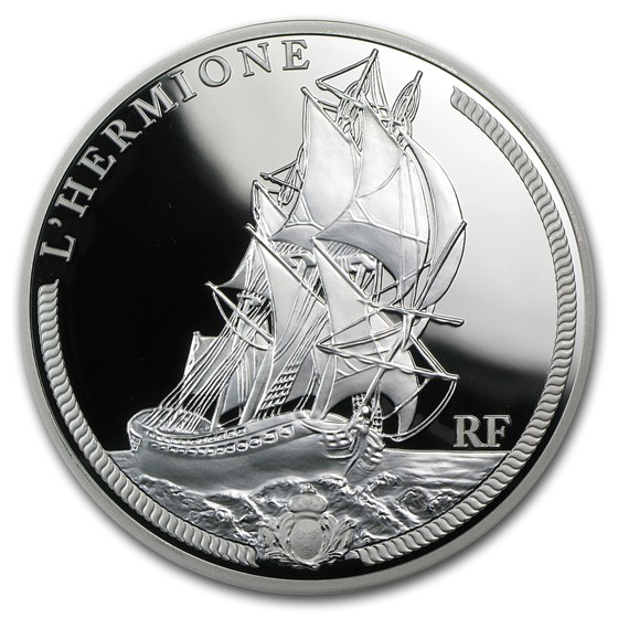 2012 5 oz Silver €50 Great French Ships Proof (The Hermione)