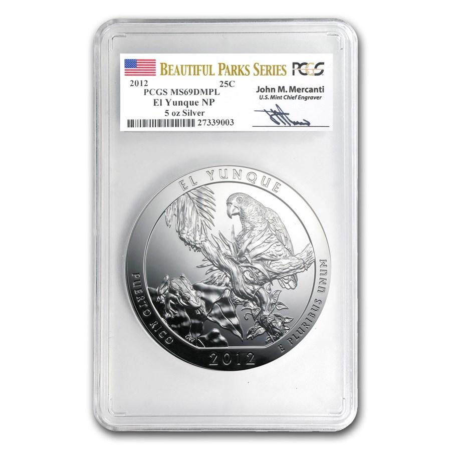 2012 5 oz Silver ATB El Yunque MS-69 DMPL PCGS (John Mercanti)