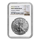 2012 American Silver Eagle MS-69 NGC (Error, Weakly Struck)
