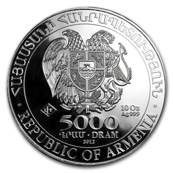 2012 Armenia 10 oz Silver 5000 Drams Noah's Ark