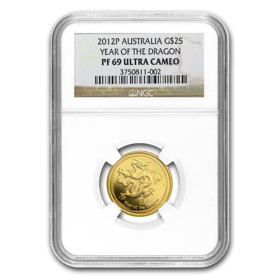 2012 AUS 1/4 oz Gold Lunar Year of the Dragon PF-69 NGC (SII)