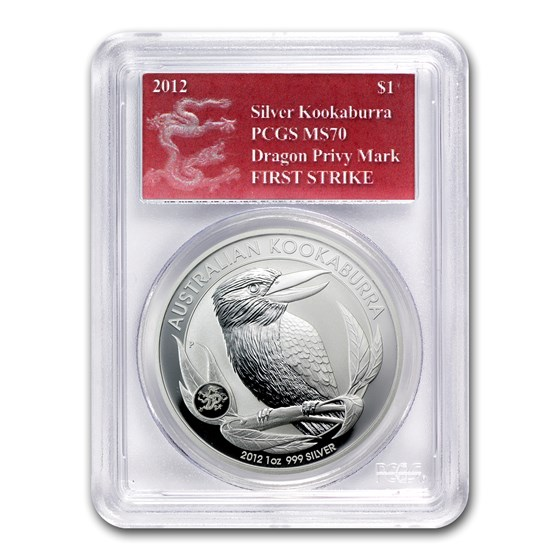 2012 AUS 1 oz Silver Kookaburra MS-70 PCGS (FS, Dragon Privy)