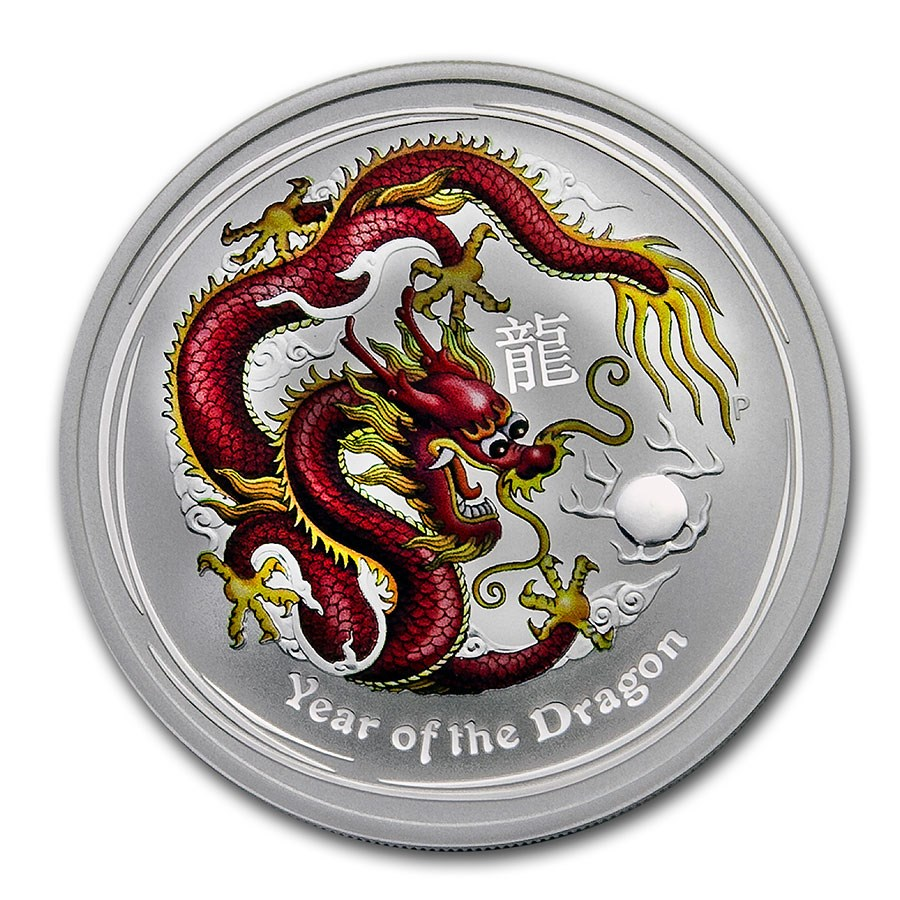 2012 AUS 1 oz Silver Year of the Dragon (Colorized, ANDA Special)