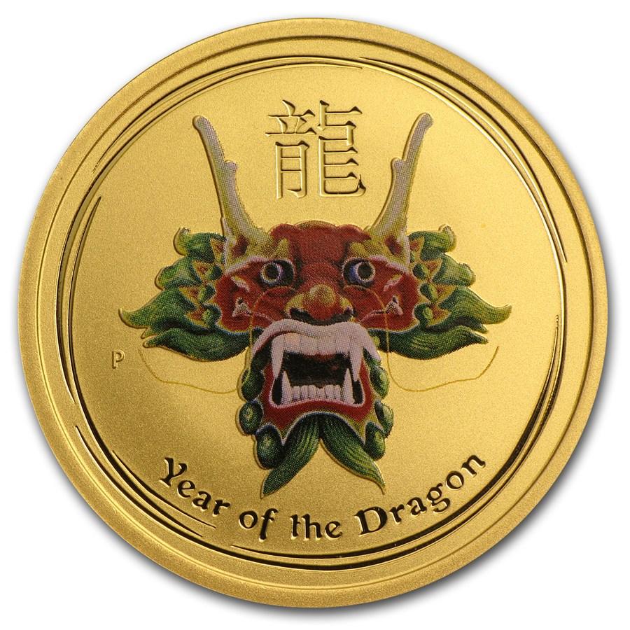 2012 Australia 1/2 oz Gold Lunar Dragon BU (SII, Green Colorized)