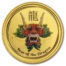 2012 Australia 1/20 oz Gold Lunar Dragon BU (SII, Green Color)