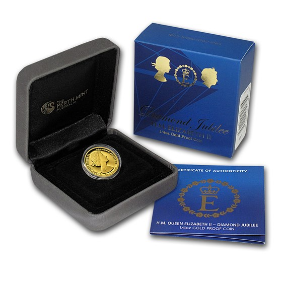2012 Australia 1/4 oz Proof Gold $25 Diamond Jubilee