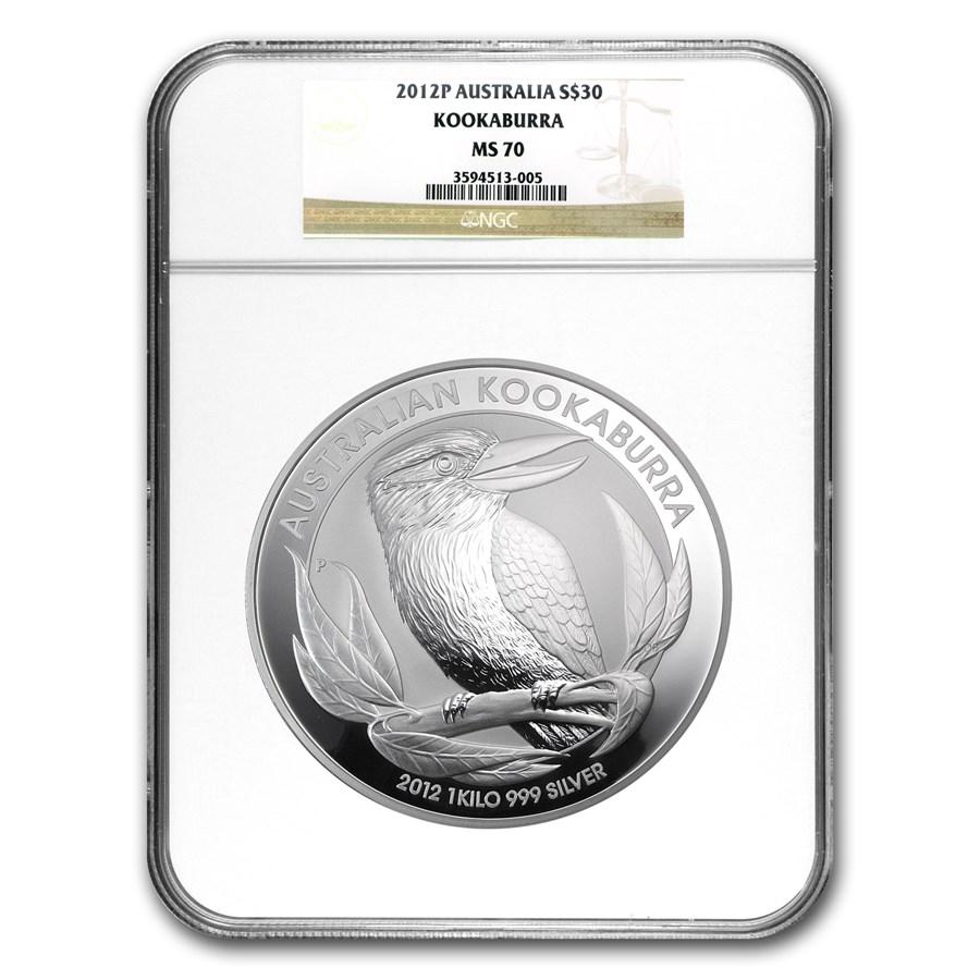 2012 Australia 1 kilo Silver Kookaburra MS-70 NGC