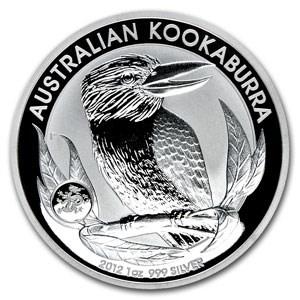 2012 Australia 1 oz Ag Kookaburra BU (Dragon Privy, Box of 100)