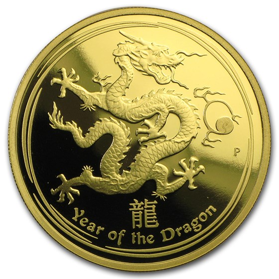 2012 Australia 1 oz Gold Lunar Dragon Proof (Series II)