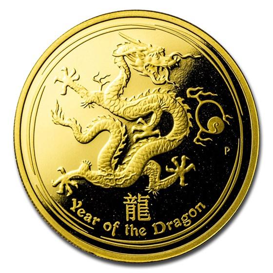 2012 Australia 1 oz Gold Lunar Dragon Proof (SII, Capsule Only)