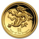 2012 Australia 1 oz Gold Lunar Dragon Proof (UHR, Box & COA)