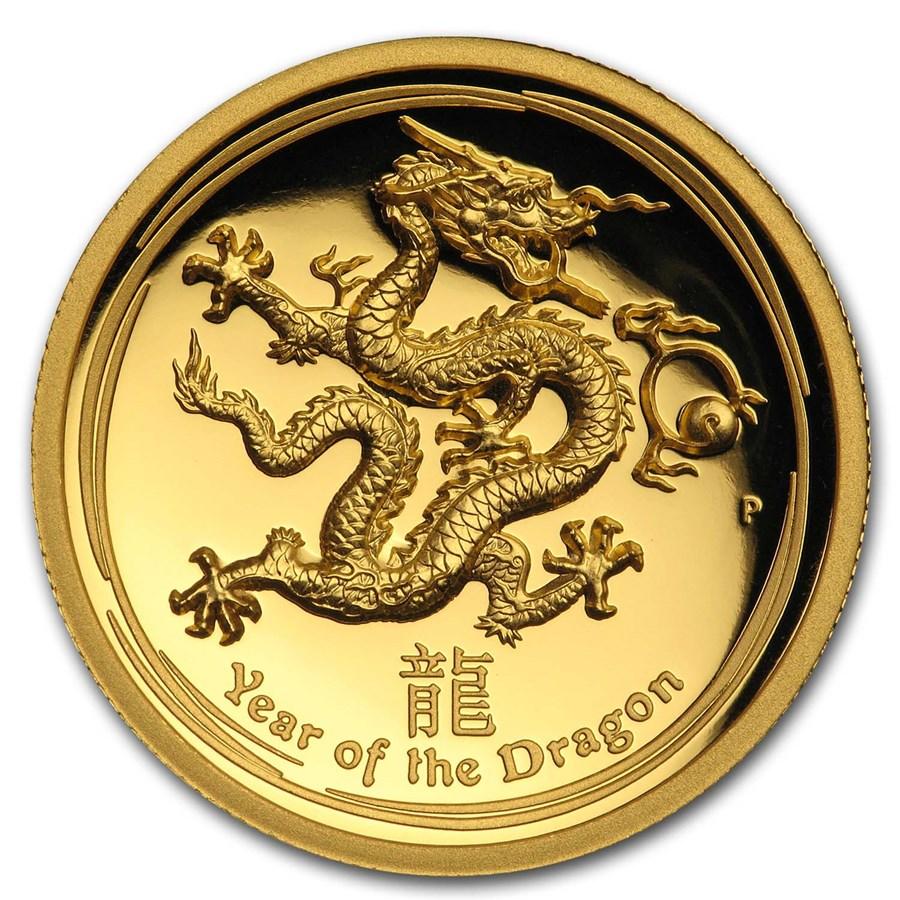 2012 Australia 1 oz Gold Lunar Dragon Proof (UHR, Box & COA)