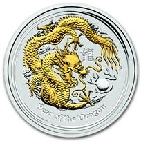 2012 Australia 1 oz Silver Dragon BU (Gilded, Capsule)