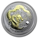 2012 Australia 1 oz Silver Dragon BU (Gilded, w/Box & COA)