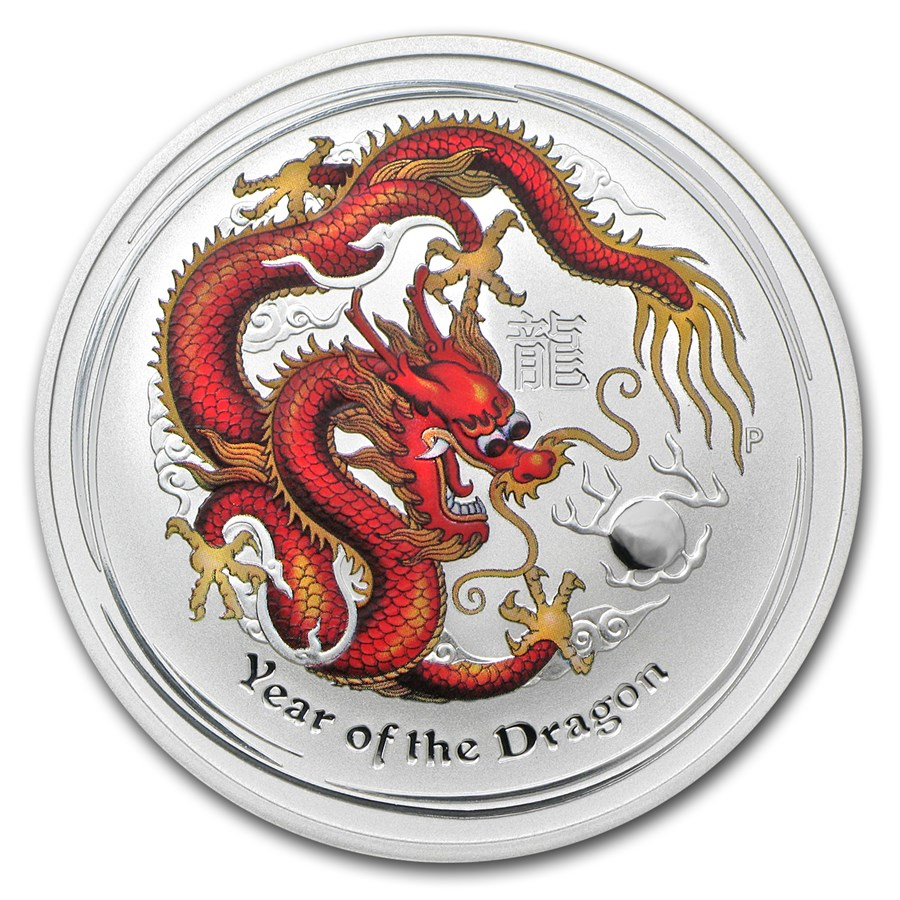 2012 Australia 1 oz Silver Year of the Dragon BU (Colorized)
